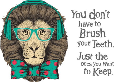Animated lion wearing headphones, glasses, and bow tie