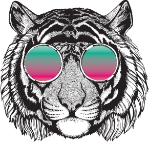 Annimated tiger with sunglasses icon